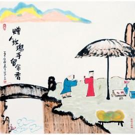 王家春  哲理中国画《赠人玫瑰手有余香》