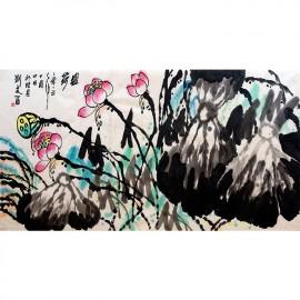 刘文西   花鸟画作品  《盛荷》