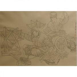 杨光利   白描作品  《纺线线》
