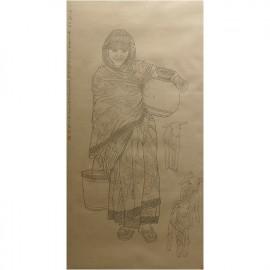 杨光利  白描作品  《印度妇女》