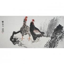 巨石      花鸟作品《双鸡图》
