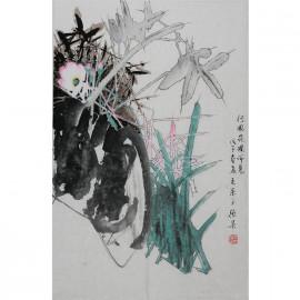张杲     花鸟作品《行园花圃所见》