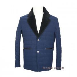 冬季 羽绒服  短款男装 大翻领 毛领  蓝色     伟志
