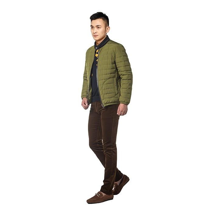 伟志冬季 羽绒服 短款男装 白鸭绒  绿色