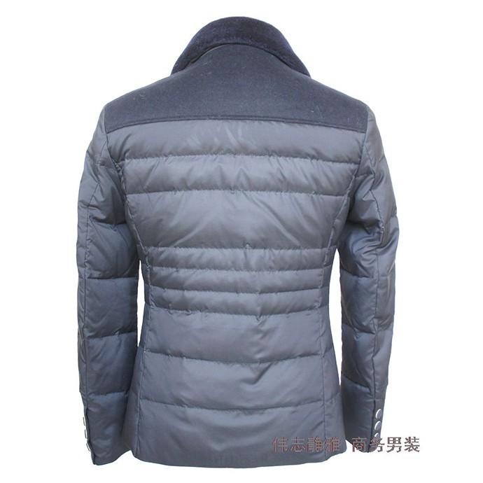伟志冬季 羽绒服 短款男装  大翻领  深蓝色