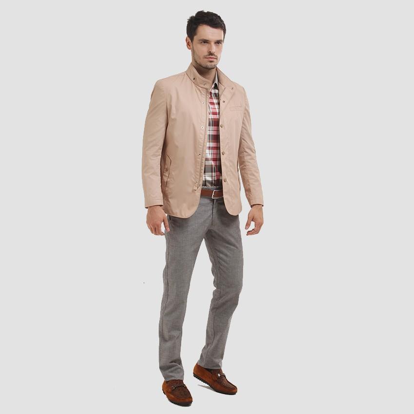 伟志男装 土黄色休闲夹克   立领薄款外套