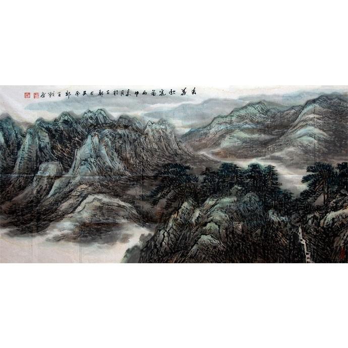 李百战     中国山水作品《秋宴图》