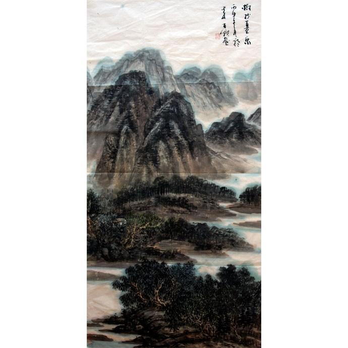 李百战     中国山水作品《树杪百重泉》