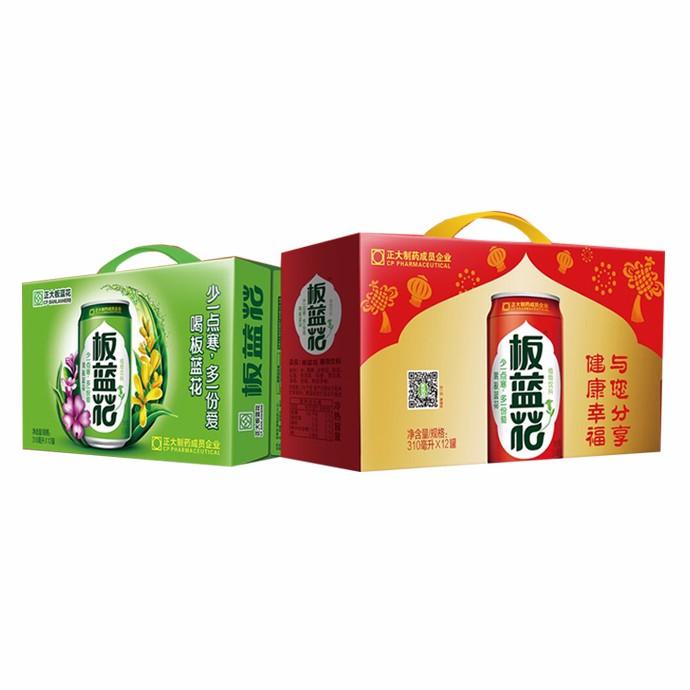 正大板蓝花植物饮料12罐(喜庆装礼盒)