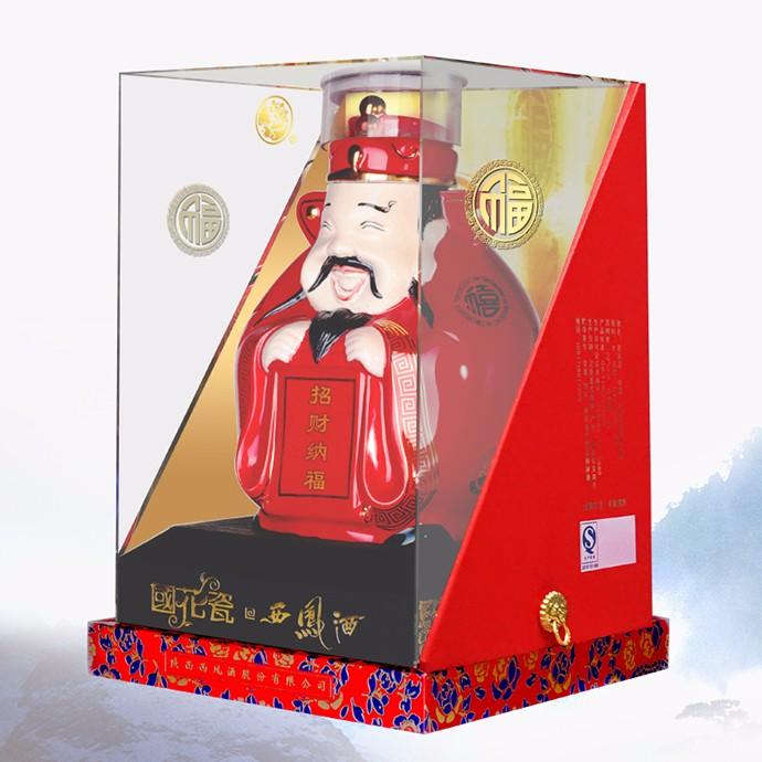 52度国花瓷西凤酒财神酒1000mL×4盒    整箱起售
