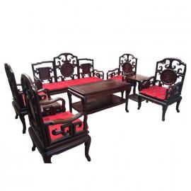 明式古董沙发  八件套 大红酸枝家具