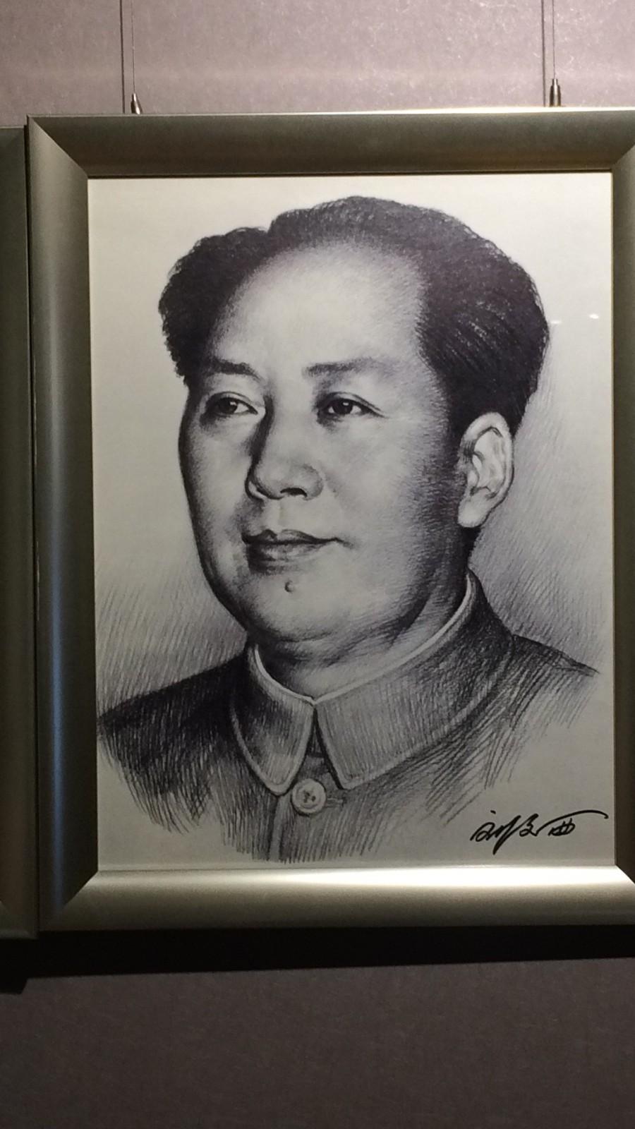 毛主席素描型壁饰画像 毛泽东标准像宣传有框画 实木相框照片墙
