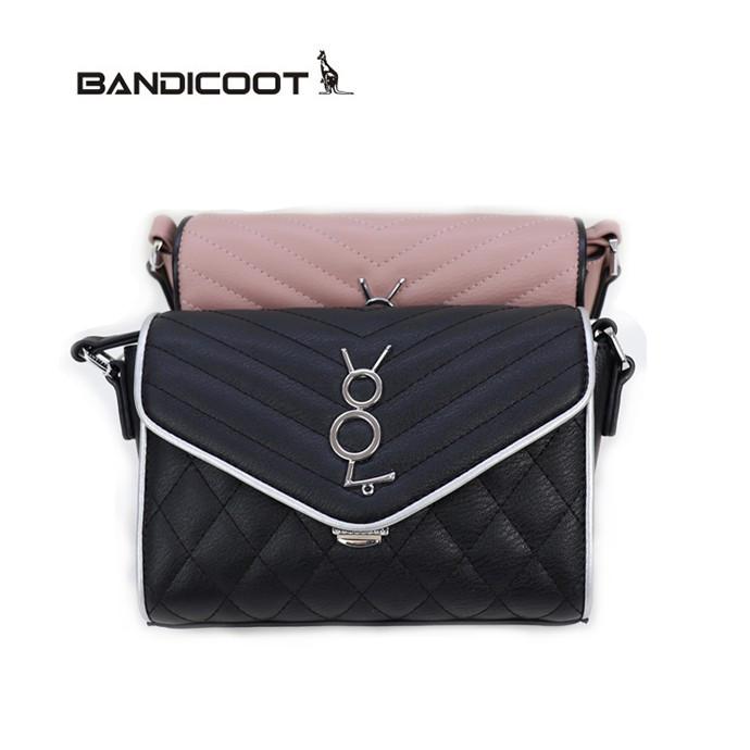 袋鼠(BANDICOOT)女包 时尚女包 女士单肩包 手提包L180542-03C藕粉色 和L180542-03A 黑色