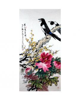杨佳焕    花鸟作品《国色双喜图》
